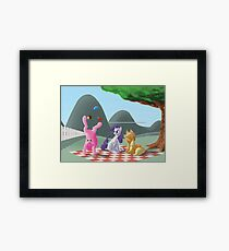 A pony picknick in the summer sun Framed Print