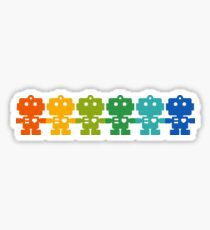 Rainbow Robots holding hands Sticker