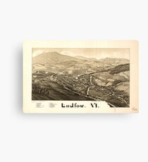 Panoramic Maps Ludlow Vt Canvas Print