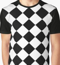 Black and White Diagonal Harlequin Diamond Checks Graphic T-Shirt