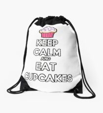 Keep Calm and Eat Cupcakes Drawstring Bag