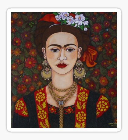 Frida Kahlo with butterflies  Sticker