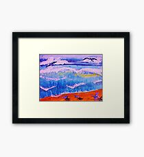Sea gulls and the waves, watercolor Framed Print