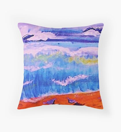 Sea gulls and the waves, watercolor Throw Pillow
