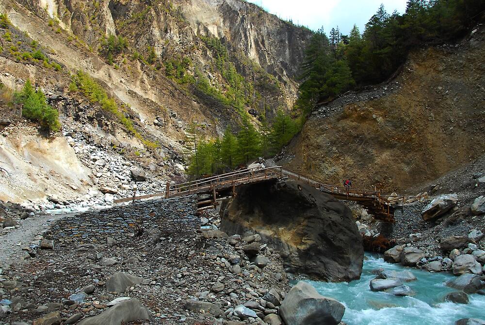 Bridge, Annapurna Circuit by Richard  Stanley