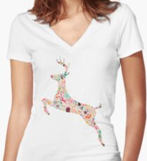 Christmas Reindeer 3 Women's Fitted V-Neck T-Shirt