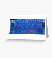 World street graffiti - blue Greeting Card