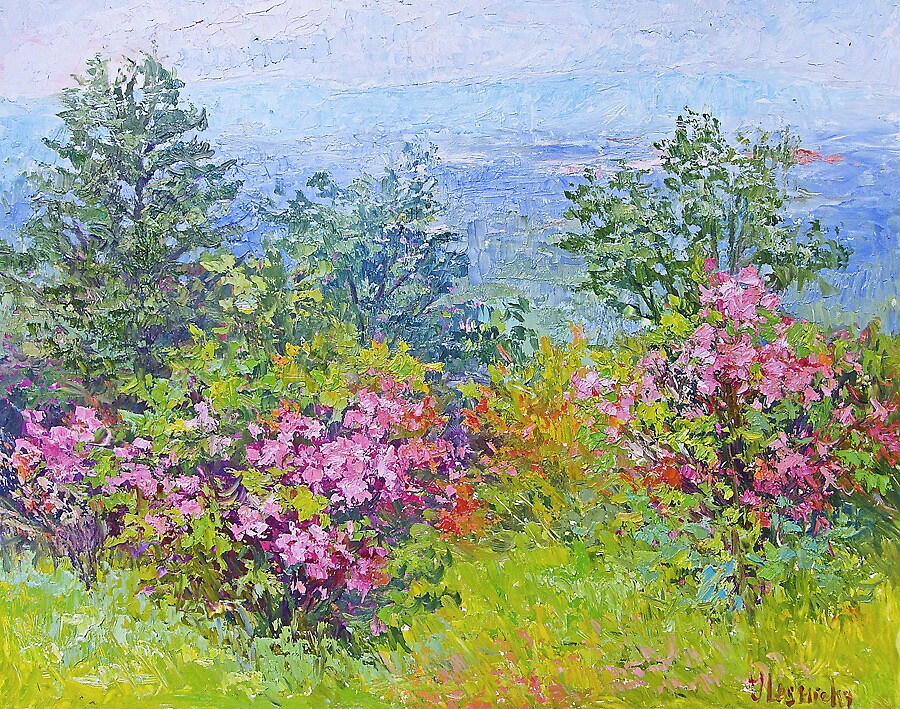 Blooms and mountains by Julia Lesnichy