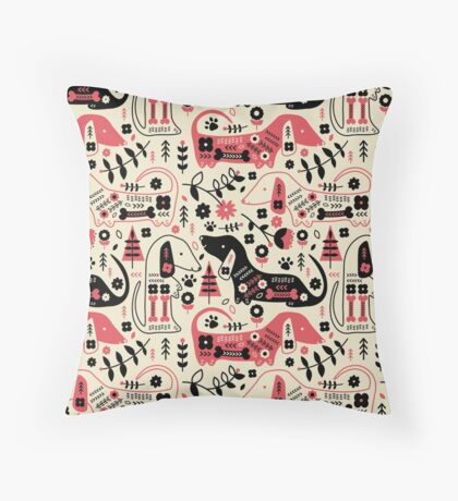 Dog Folk  Throw Pillow