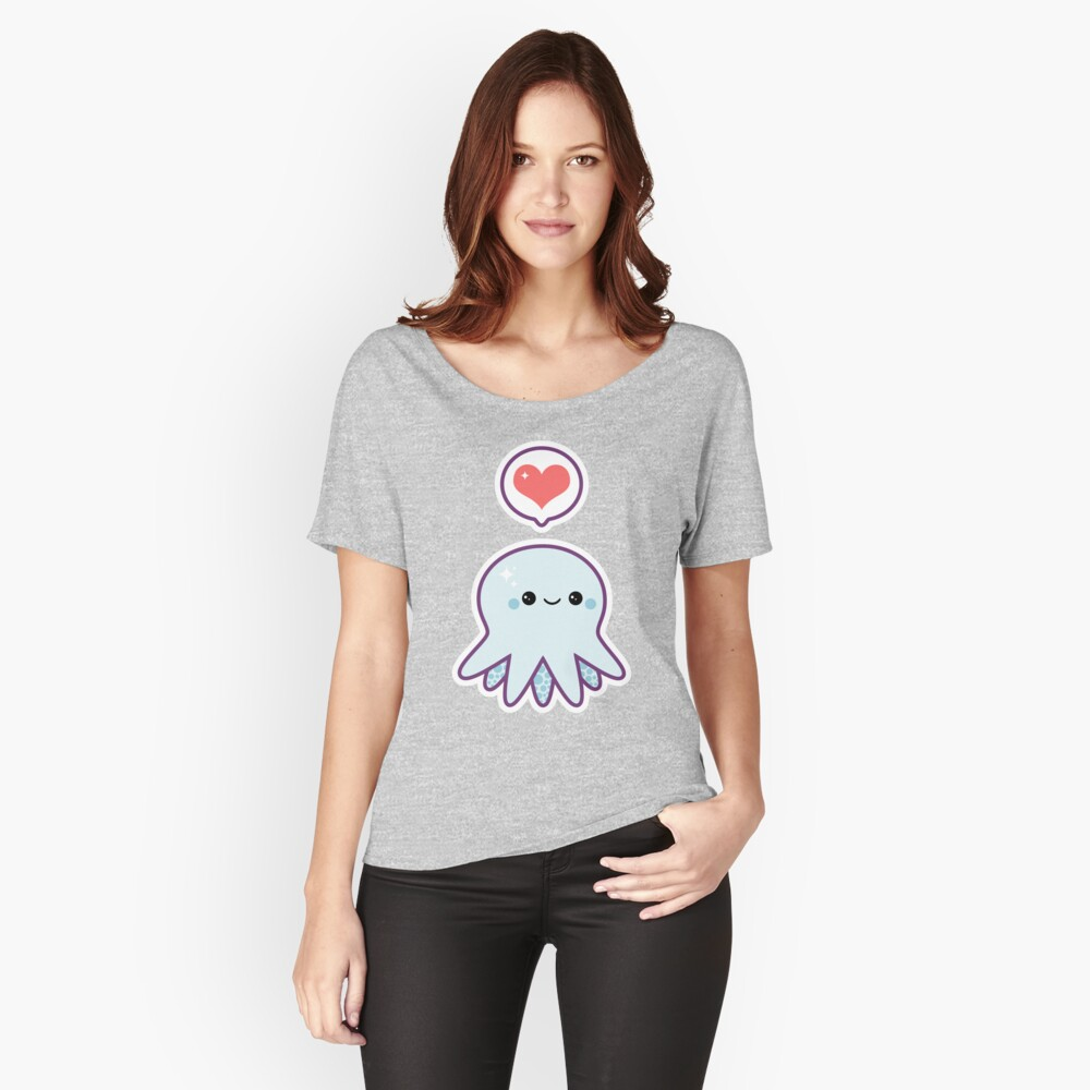 Cute Blue Octopus Women's Relaxed Fit T-Shirt Front