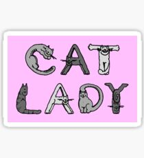 Cat Lady - Cat Letters - Grey Sticker