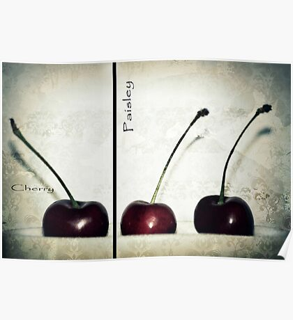 Cherries in Paisley Poster