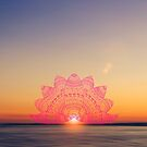 pink lotus mandala petals on blurred sunset with sun light flare by faithie