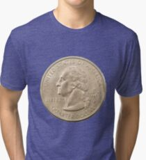US one Quarter Dollar coin (25 cents) isolated on white background  Tri-blend T-Shirt