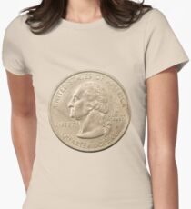 US one Quarter Dollar coin (25 cents) isolated on white background  Womens Fitted T-Shirt
