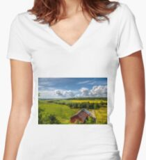 Rural Landscape Women's Fitted V-Neck T-Shirt