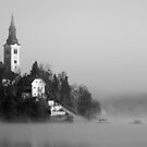 Misty Lake Bled in Black and White by Ian Middleton