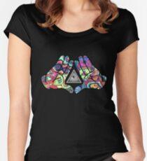 Trippy Illuminati Hands Diamond Women's Fitted Scoop T-Shirt