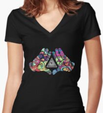 Trippy Illuminati Hands Diamond Women's Fitted V-Neck T-Shirt