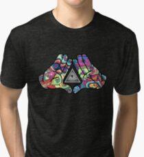 Trippy Illuminati Hands Diamond Tri-blend T-Shirt