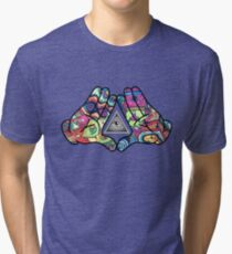 Trippy Illuminati Hands Diamond Tri-blend T-Shirt