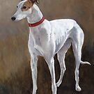 Greyhound white with brindle by Charlotte Yealey