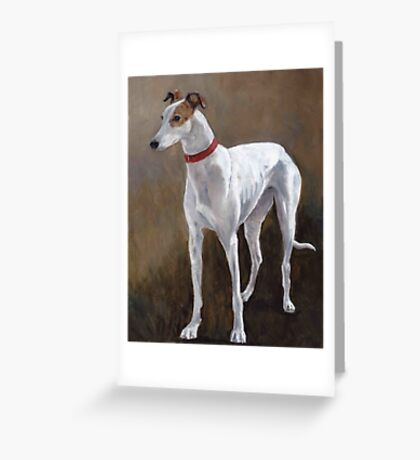 Greyhound white with brindle Greeting Card