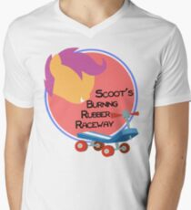 Scoot's Burning Rubber Raceway Mens V-Neck T-Shirt