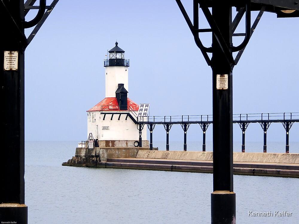 Michigan City East Pier Head Light, Indiana by Kenneth Keifer