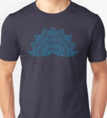 Teal lotus doodle mandala on blurred sunset with sun flare Unisex T-Shirt