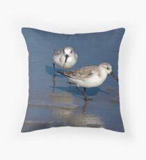 Sanderlings on the Beach Throw Pillow