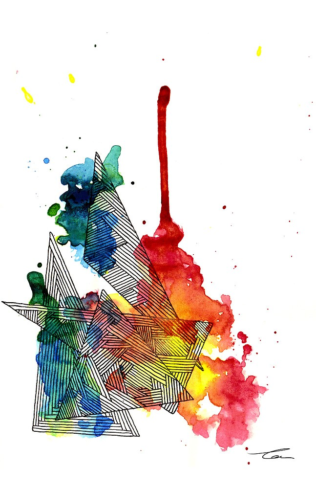 Watercolour and Fine Liner Triangles by Tom Brodie-Browne