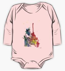 Watercolour and Fine Liner Triangles One Piece - Long Sleeve