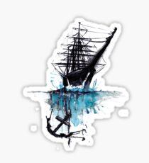 Rigged Sail Ship Watercolor Sticker