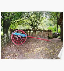 Red Cart Wheel and thatching Poster