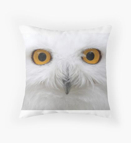 Snowy Eyes - Snowy Owl Throw Pillow