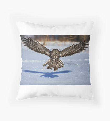 In your face - Great Grey Owl Throw Pillow