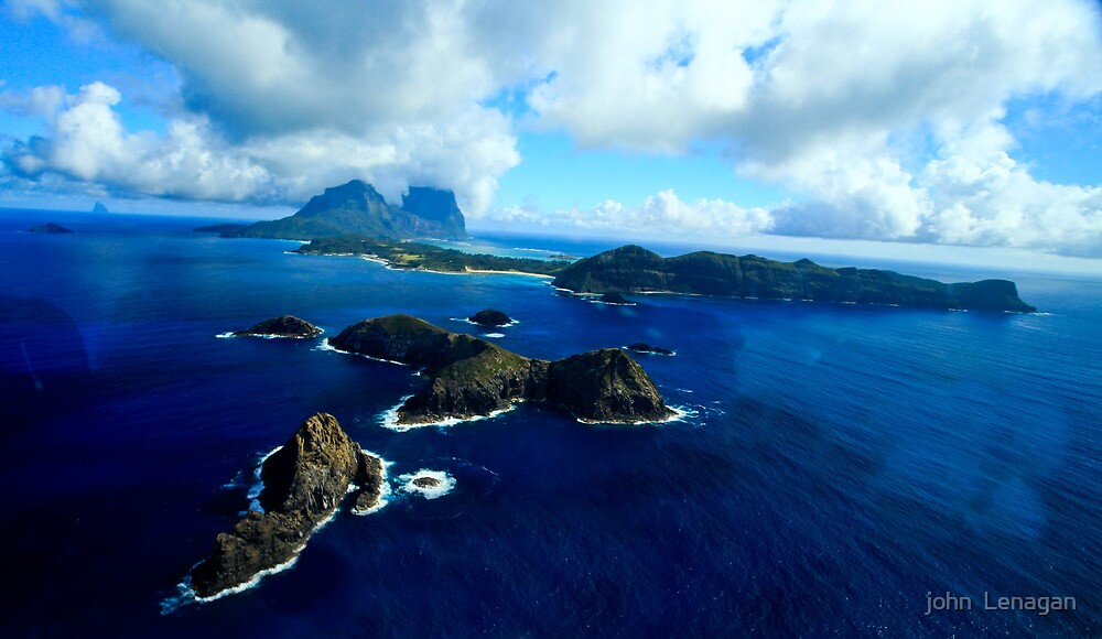 Panorama of Lord Howe Island and Balls Pyramid  by john  Lenagan