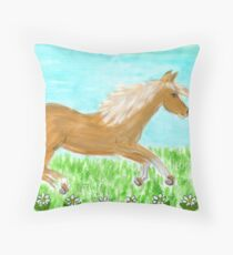 palamino pony Throw Pillow