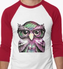 Funny Colorful Tattoo Wise Owl With Glasses  Men's Baseball ¾ T-Shirt