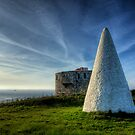Navigation marker & Fort Tourgis on Alderney by NeilAlderney