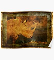 IN GRUNGE - DOOMED FOR EXTINCTION? - WHITE RHINOCEROS*- Ceratotherium simum  Poster