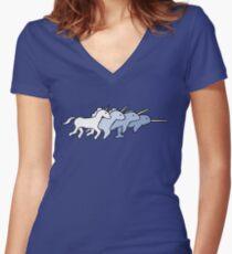 Unicorn Narwhal Evolution Women's Fitted V-Neck T-Shirt