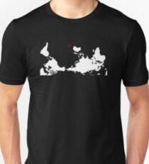 Upside Down World Map New Zealand T-Shirt