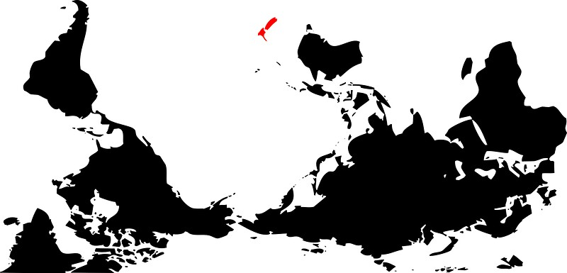 """Upside Down World Map New Zealand - 47.6KB"