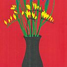 Freesias in Green Vase by Tracey Lennon