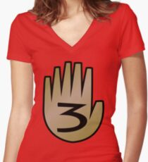 3 Hand Book From Gravity Falls Women's Fitted V-Neck T-Shirt