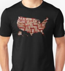 USA - American Bacon Map - Woven Strips T-Shirt