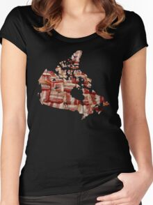 Canada - Canadian Bacon Map - Woven Strips Women's Fitted Scoop T-Shirt