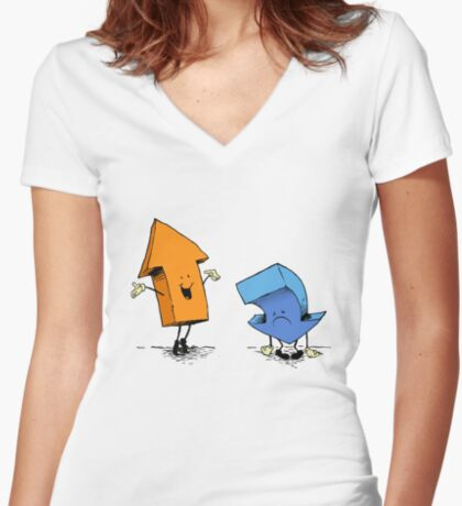 up and down show (alternate version) Women's Fitted V-Neck T-Shirt